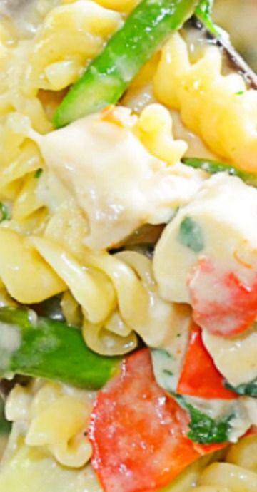 one skillet chicken artichoke asparagus sun dried tomato pasta with images pasta pasta on hebbar s kitchen chicken recipes id=14117