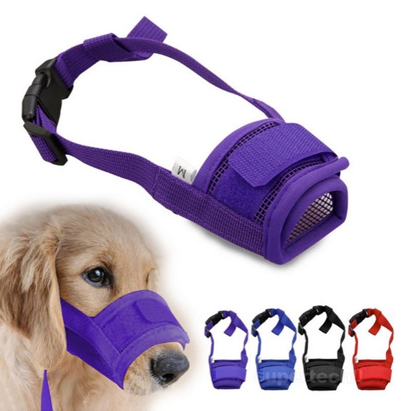 Pet Dog Adjustable Mask Bark Bite Mesh Mouth Muzzle Grooming Anti
