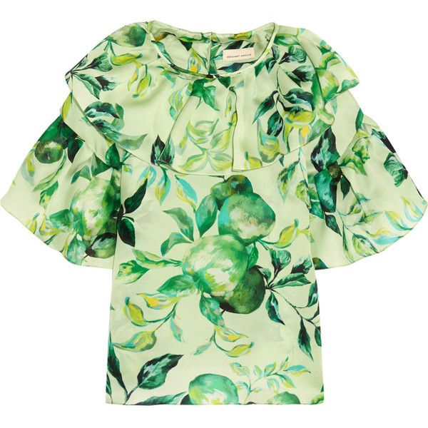 Merchant Archive Ruffled printed silk-organza blouse ($1,055) ❤ liked on Polyvore featuring tops, blouses, green, green top, embellished blouse, print top, patterned tops and pattern blouse