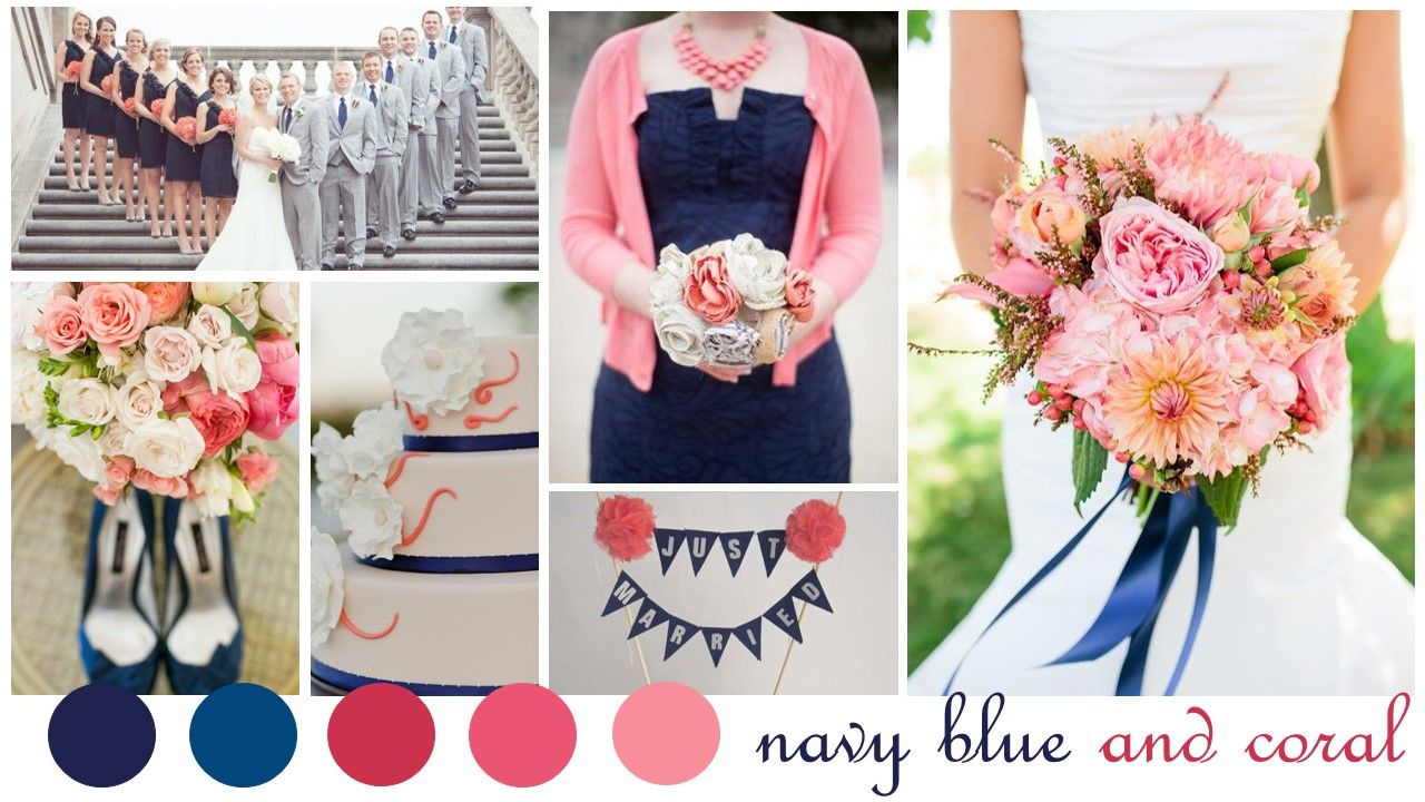 Navy Blue and Coral Wedding Colors