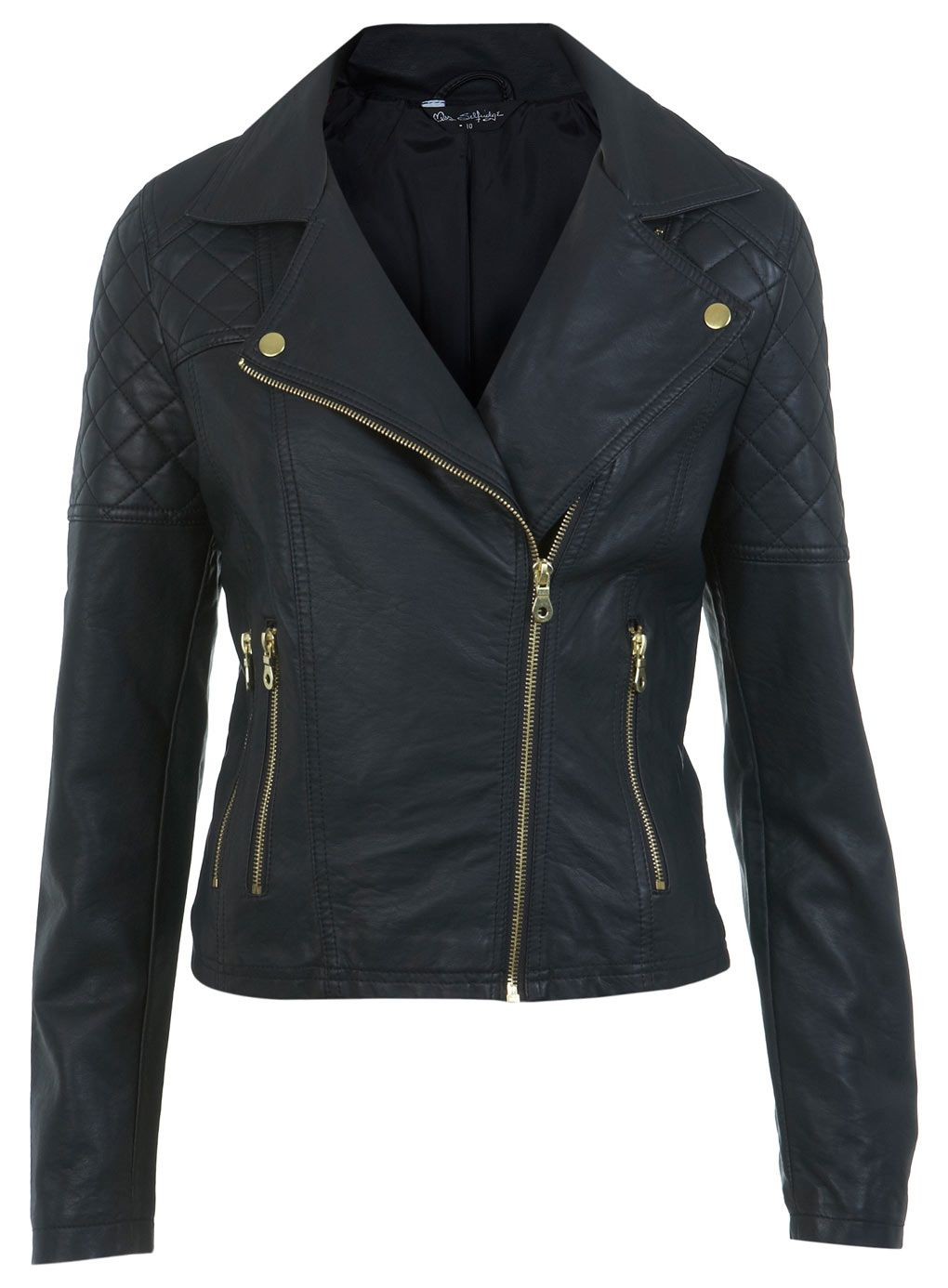 47221f63b Gold Trim Faux Leather Biker - Coats & Jackets - Clothing - Miss ...