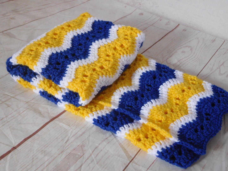 Handmade Blue Crocheted Baby Blanket Afghan