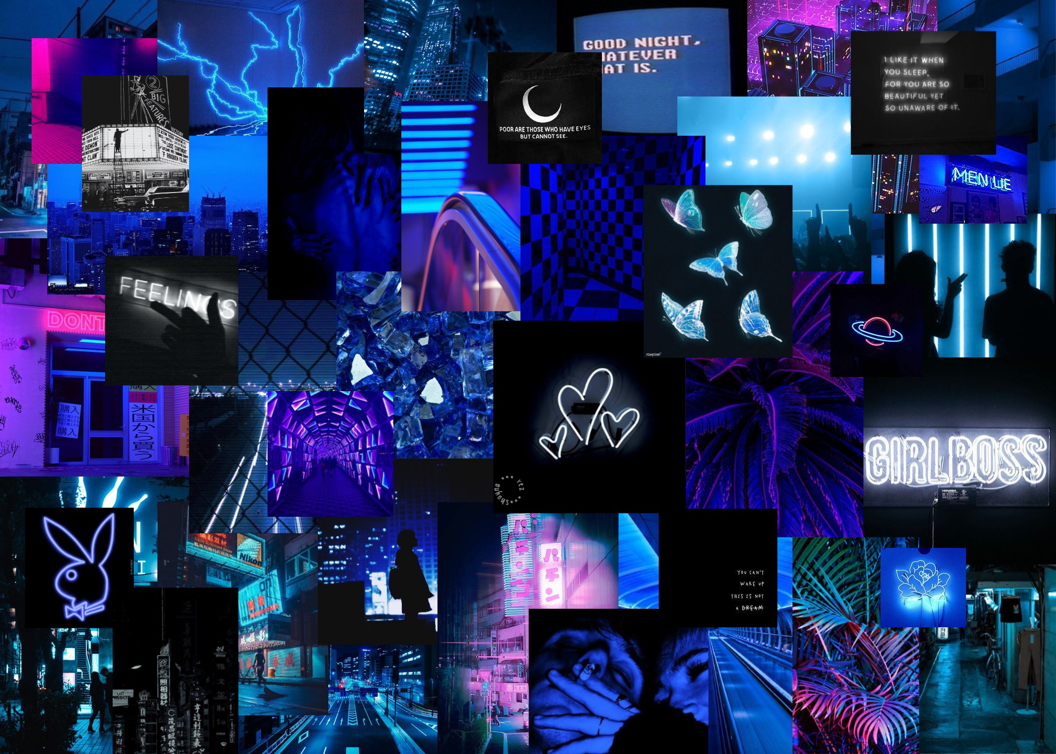 Blue Neon Aesthetic Background
