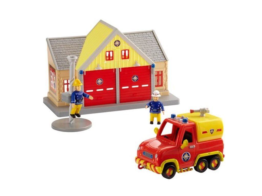 Fire Station With Helicopter Red Car Kids Playset Gift Set Toy With Sound Music