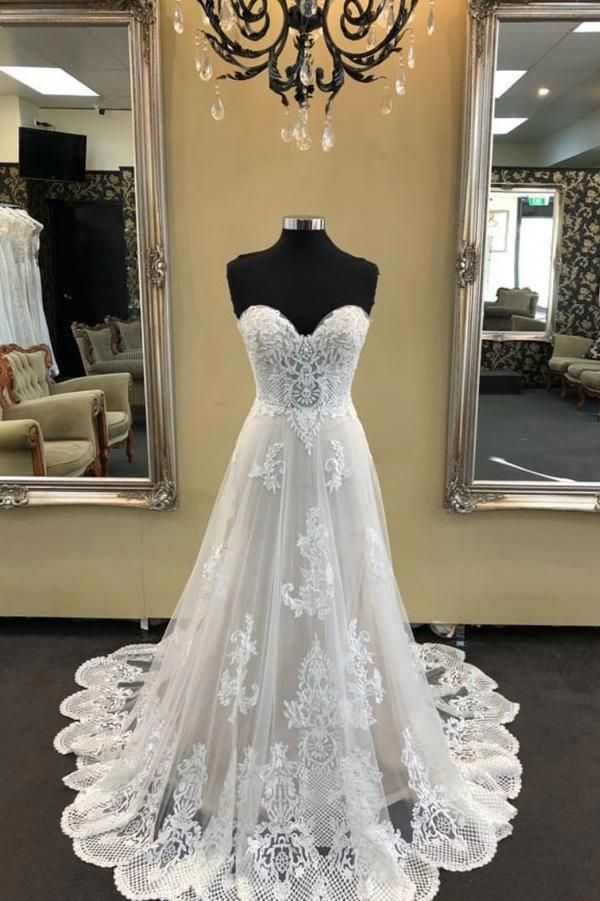White sweetheart neck tulle lace long wedding dress, lace prom dress CountryWeddings is part of Lace weddings -