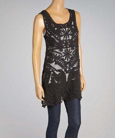 Another great find on #zulily! Black Crocheted Laurel Tank by Lady's World #zulilyfinds