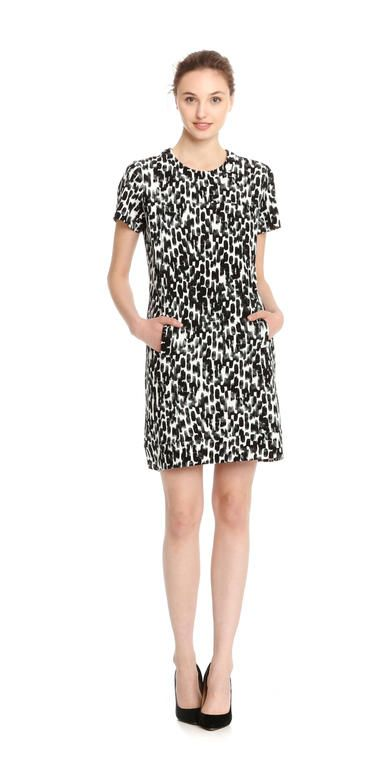 Brushstroke Print Ponte Dress from Joe Fresh. Embrace your artistic side in a ponte dress finished in a bold brushstroke print.  Only $39.
