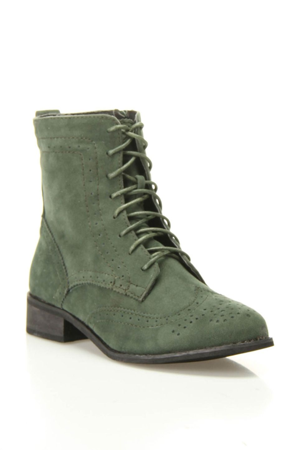 Green suede boot