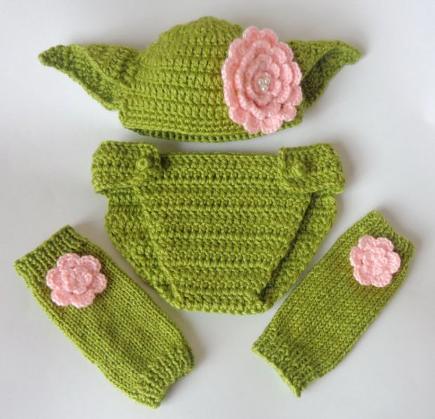 Yoda Set 3pcs For Girl- Baby Hat , Diaper Cover And Leg Warmers From ...