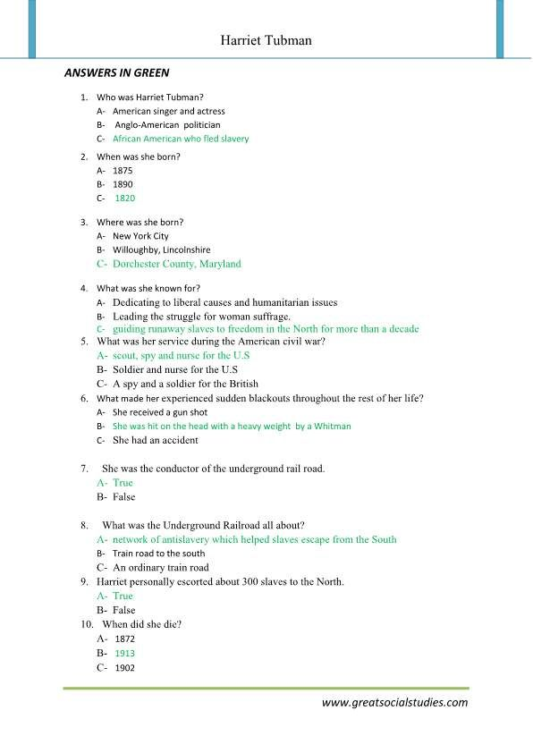 Facts about Harriet Tubman, Harriet Tubman history, work sheet   3rd ...