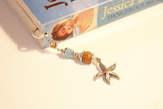 beaded metal bookmark starfish bookmark for by artnsparkle on Etsy