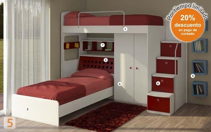 placard cama incluida buscar con google bunk beds pinterest kinderzimmerkunst. Black Bedroom Furniture Sets. Home Design Ideas