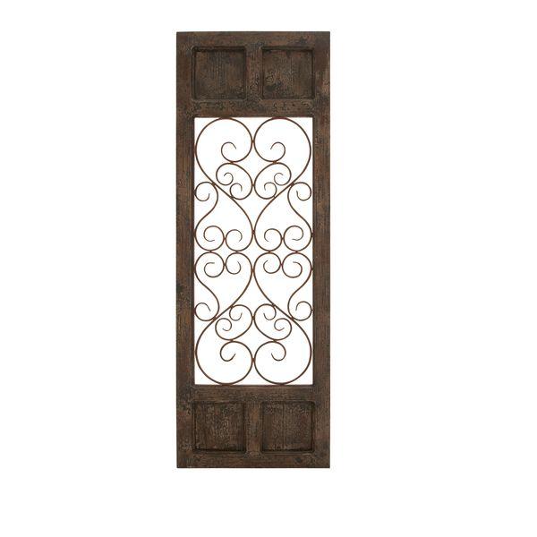 Benzara Classic Style Dark Brown Wood Metal Wall Panel