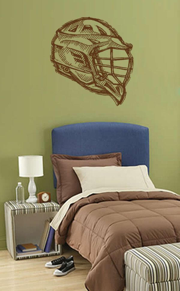 Ik874 Wall Decal Sticker Lacrosse Helmet Sport Room Teens Kids Teen Bedroom