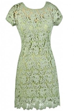 c5f9ea6ce15c Forest Foliage Crochet Lace Dress in Lime Sage