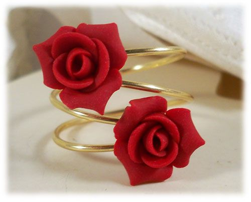 weeding looking napkin nice party romantic rose ring holder gold rings red item flower hoops table decor