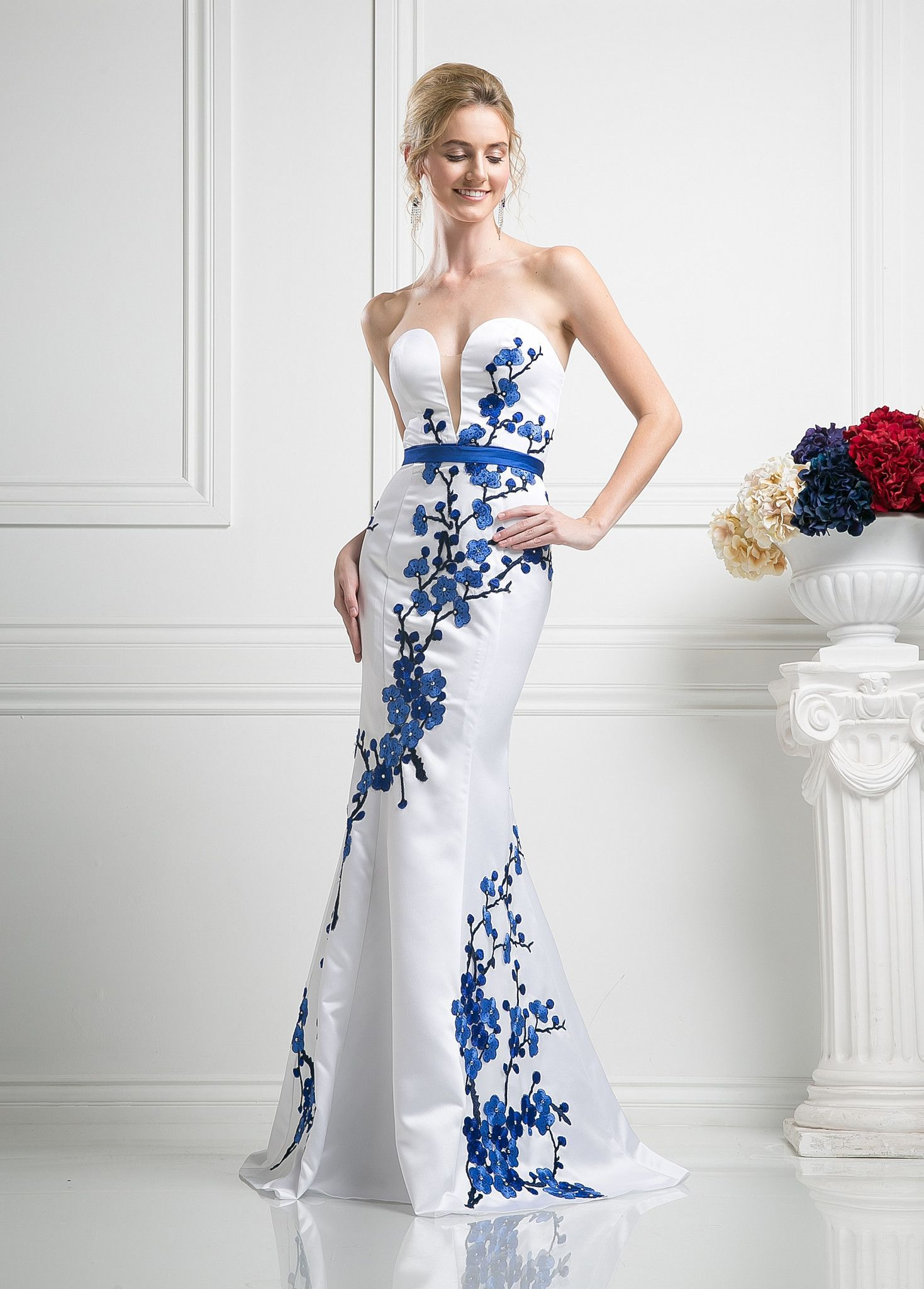 Floral embroidered strapless mermaid gown by cinderella divine kd