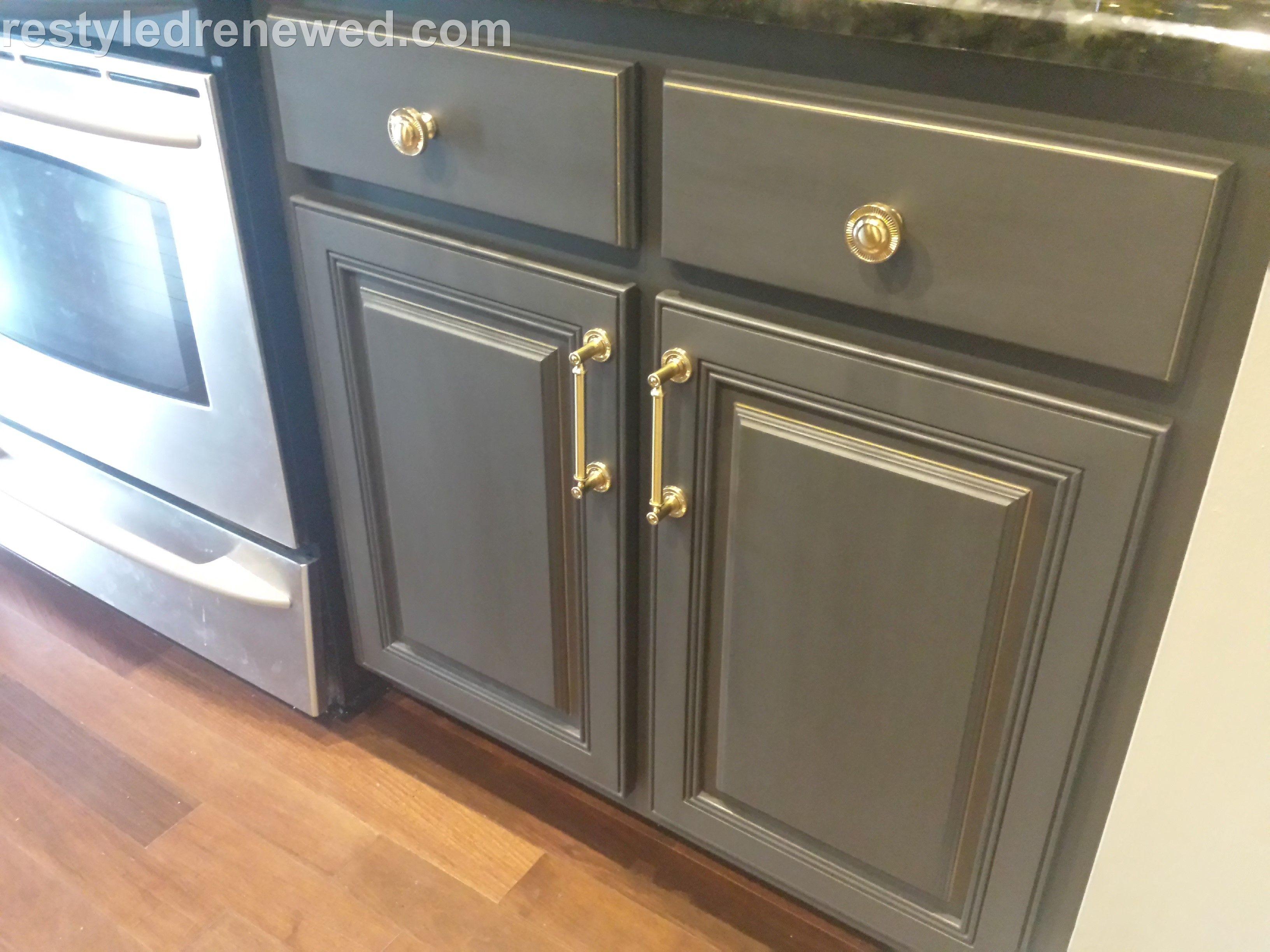 Annie Sloan Chalk Paint In Graphite Dark Wax I Added A Gold Edging We Installed Painted Furniture Painting Kitchen Cabinets Annie Sloan Chalk Paint Graphite