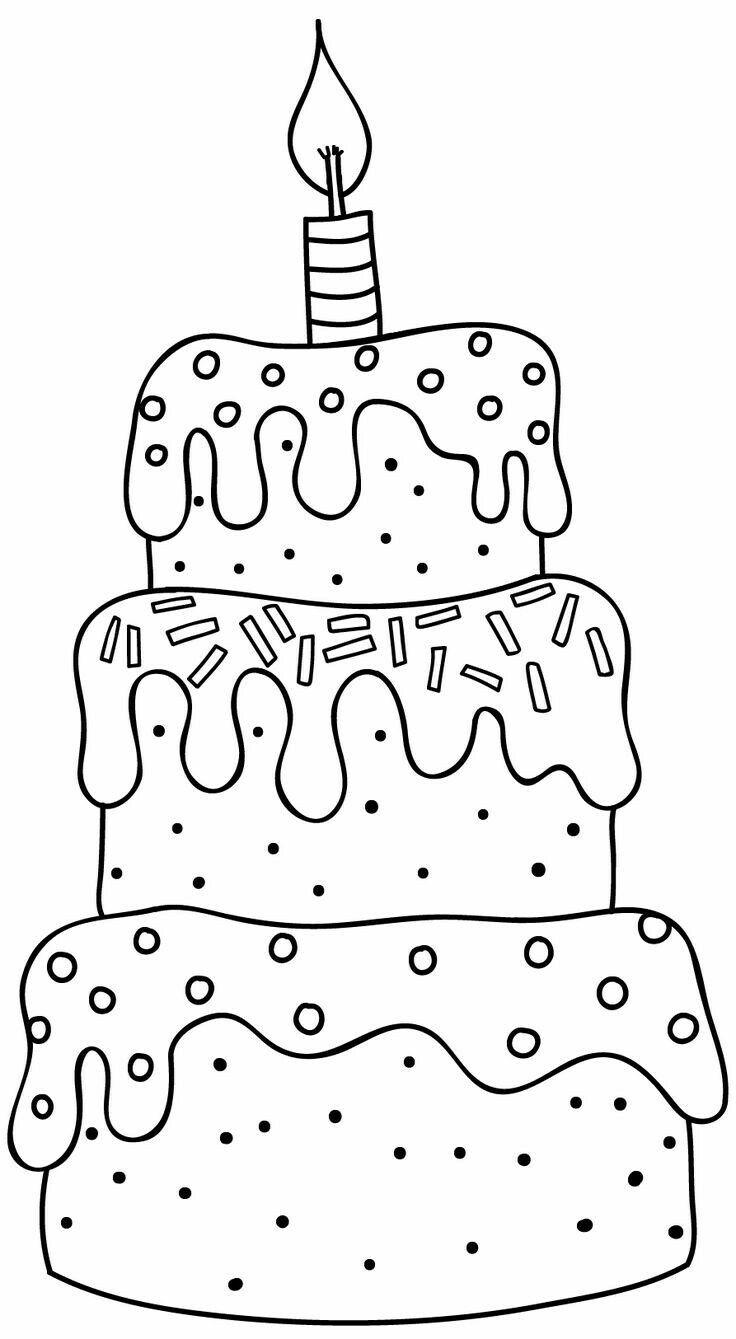 раскраска праздничный торт распечатать