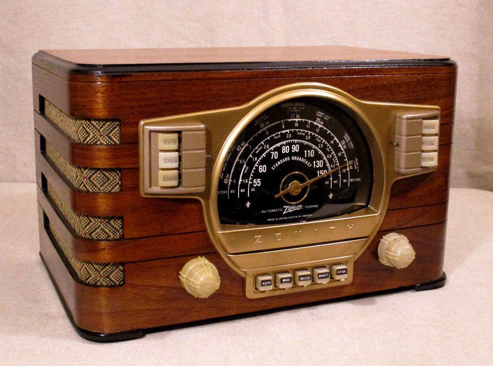 Old Antique Wood Zenith Vintage Tube Radio Restored Working W Black Dial Antique Radio Radio Retro Radios