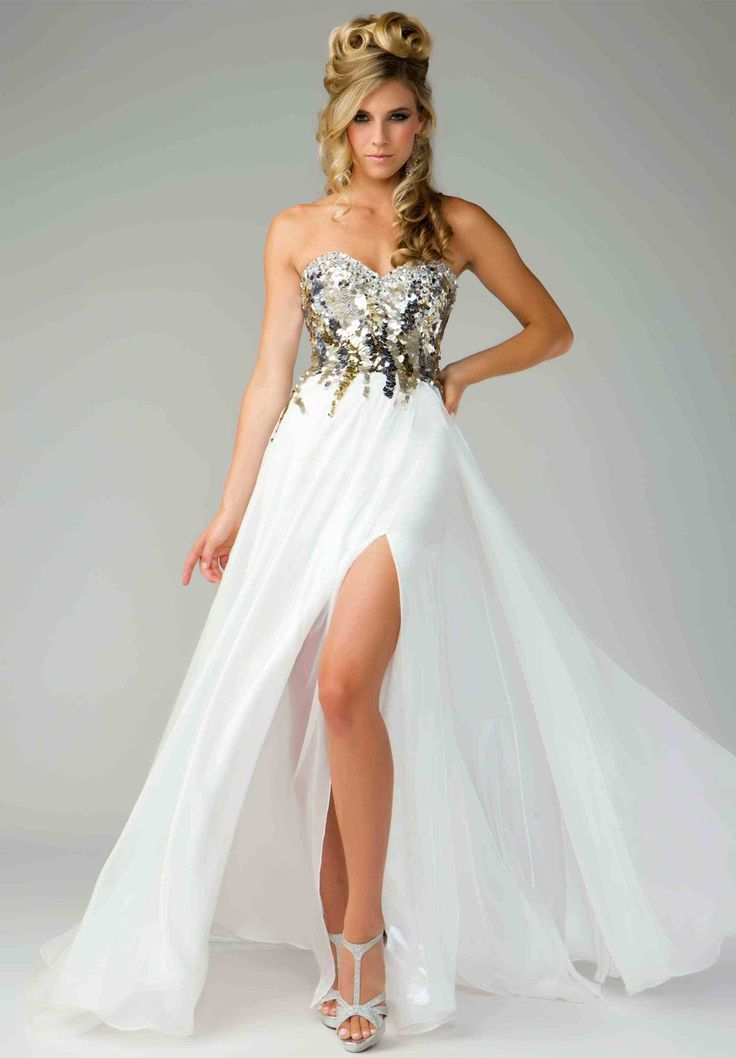 prom dresses white - Google Search | others4 | Pinterest | Gold prom ...