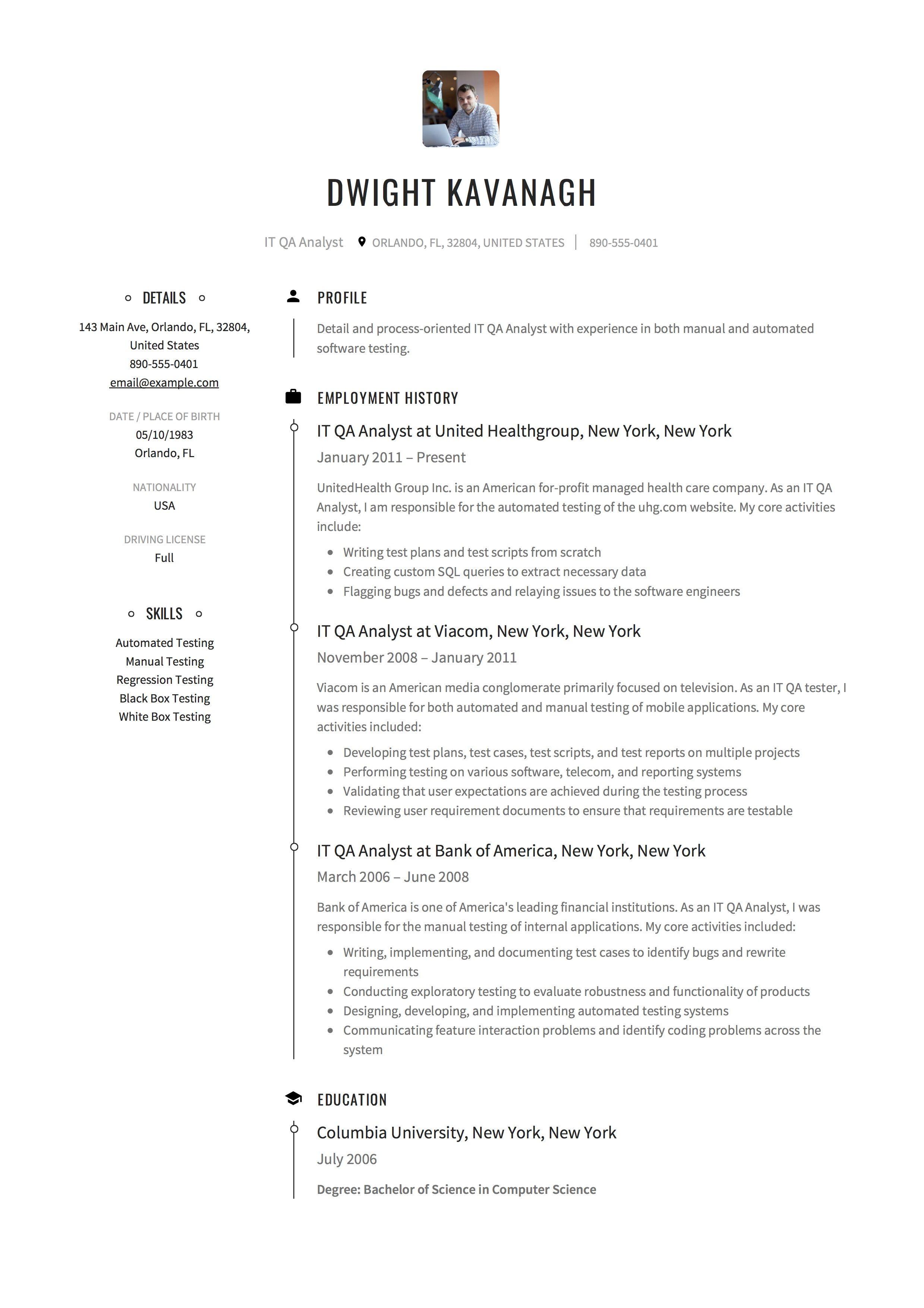 It Qa Analyst Resume Example Resume Guide Resume Examples Resume