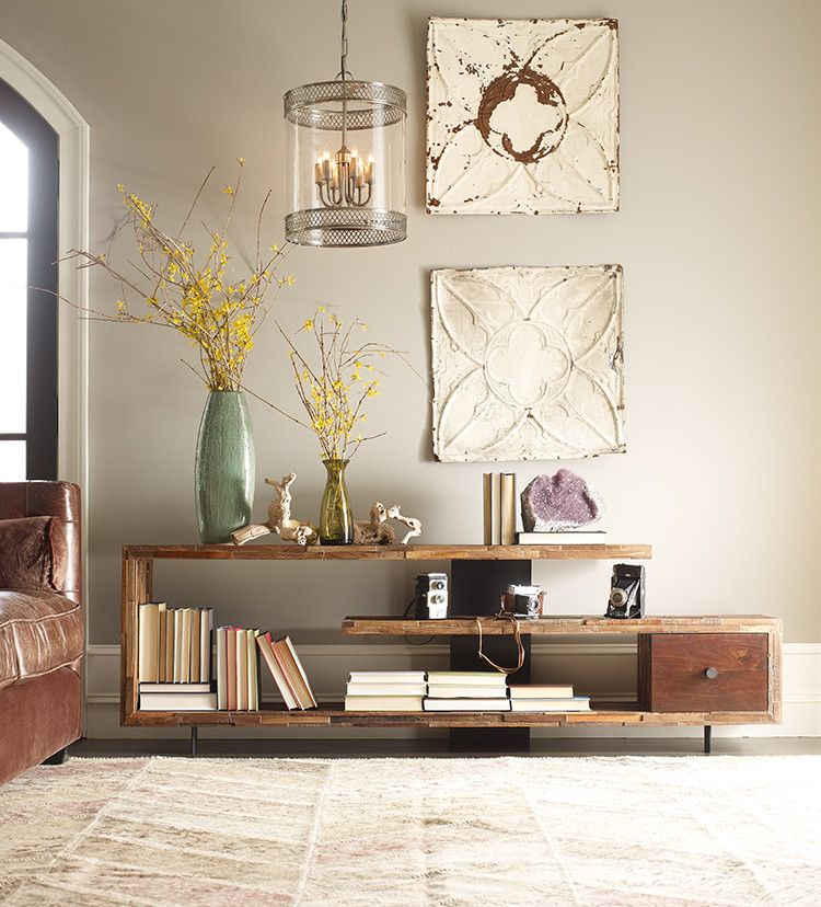 Innovative Reclaimed Wood Console Table In Family Room Farmhouse