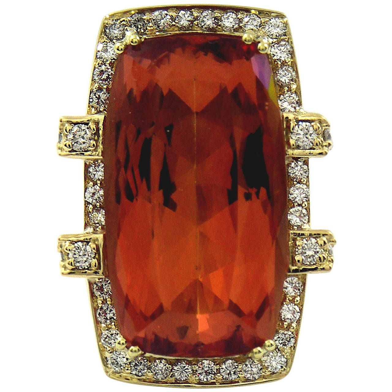 33 Carat GIA Cert Imperial Topaz Diamond Gold Ring | From a unique collection of vintage more rings at https://www.1stdibs.com/jewelry/rings/more-rings/