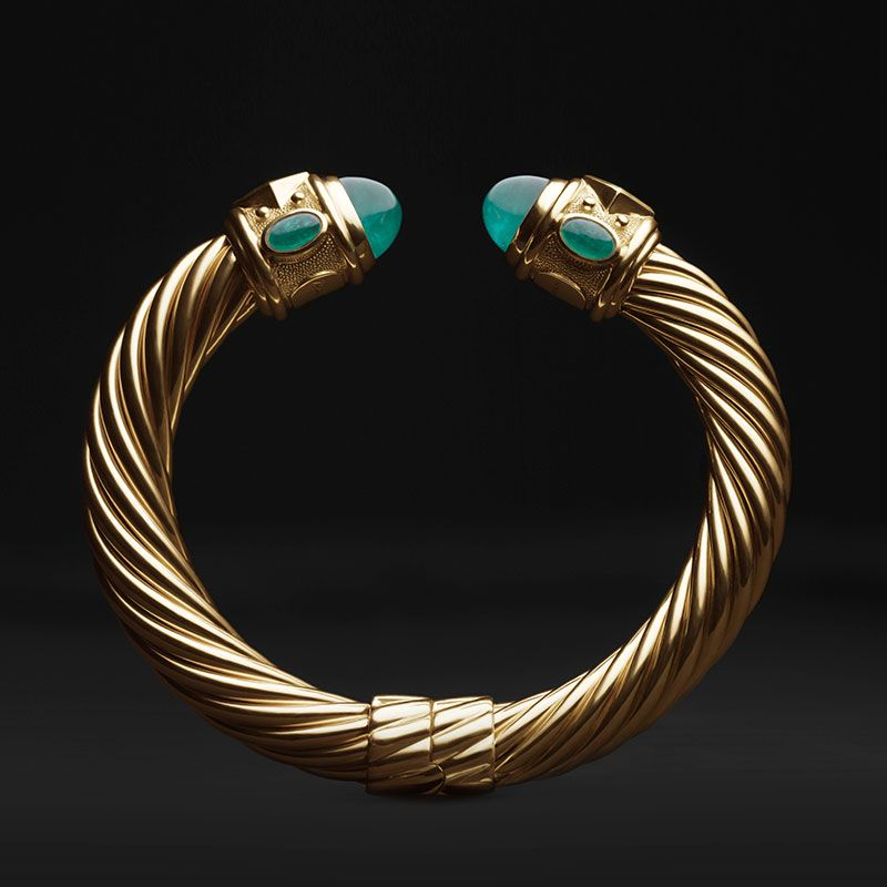 David Yurman Limited Edition Renaissance Bracelet In 18k Gold With Emeralds