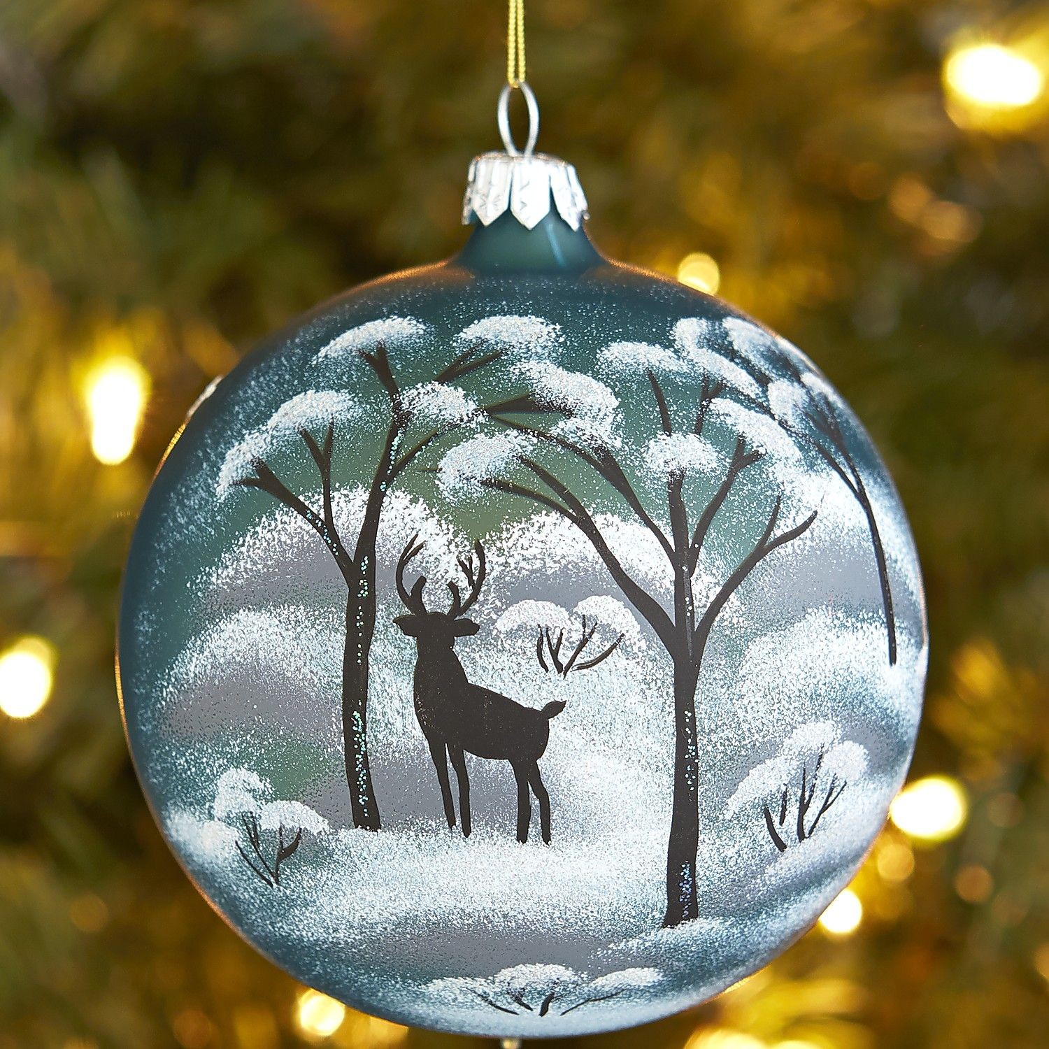 European Glass Deer In Trees Christmas Ornament Painted