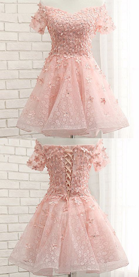 You can\'t miss this Pink Lace Homecoming Dresses, Off Shoulder ...