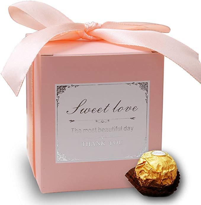 Amazon Com Doris Home 50 Pcs Pink Birthday Wedding Favor Candy Boxes Bridal Shower Party Paper Gift In 2020 Candy Wedding Favors Wedding Gift Bags Bridal Shower Party