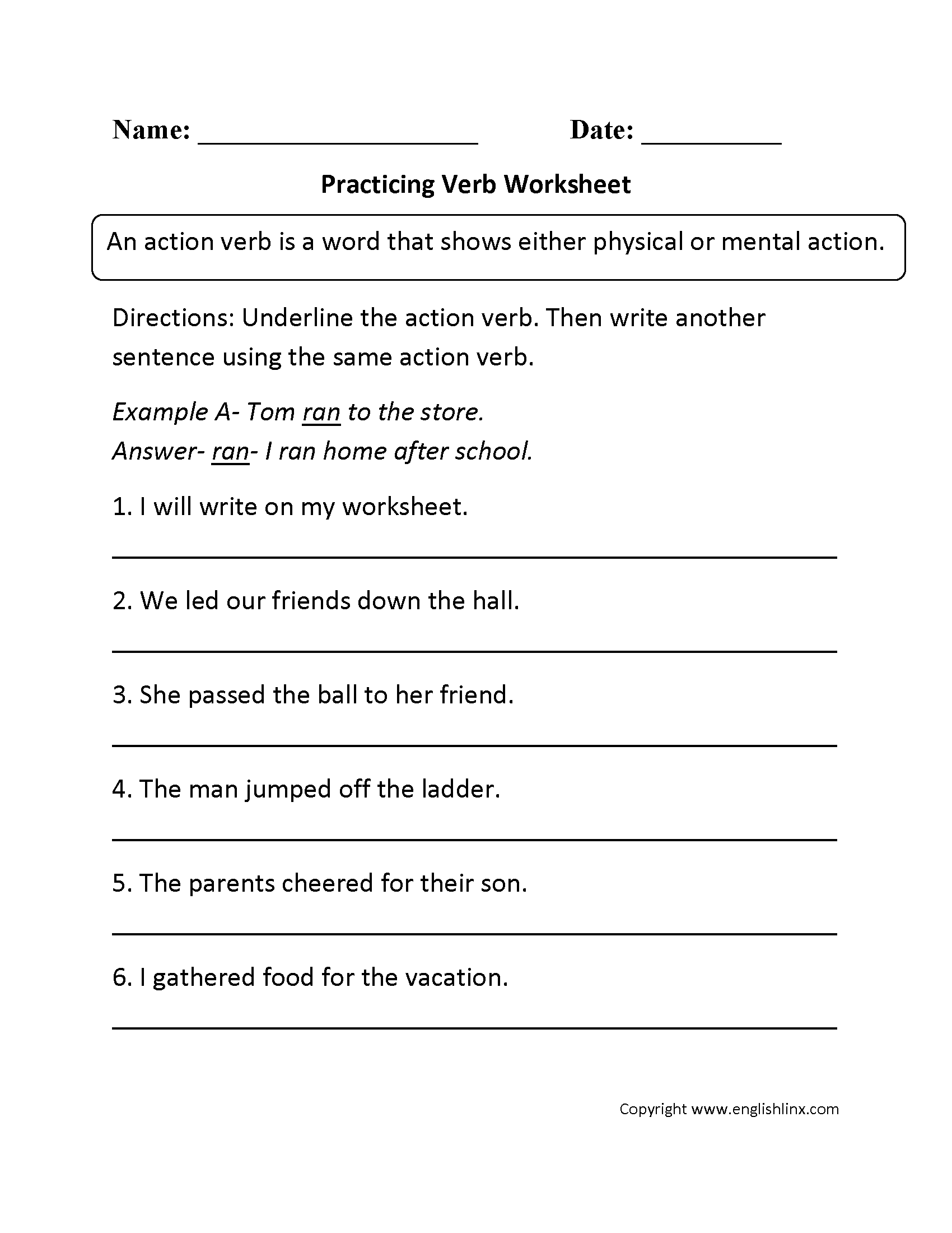 Practicing Verb Worksheet