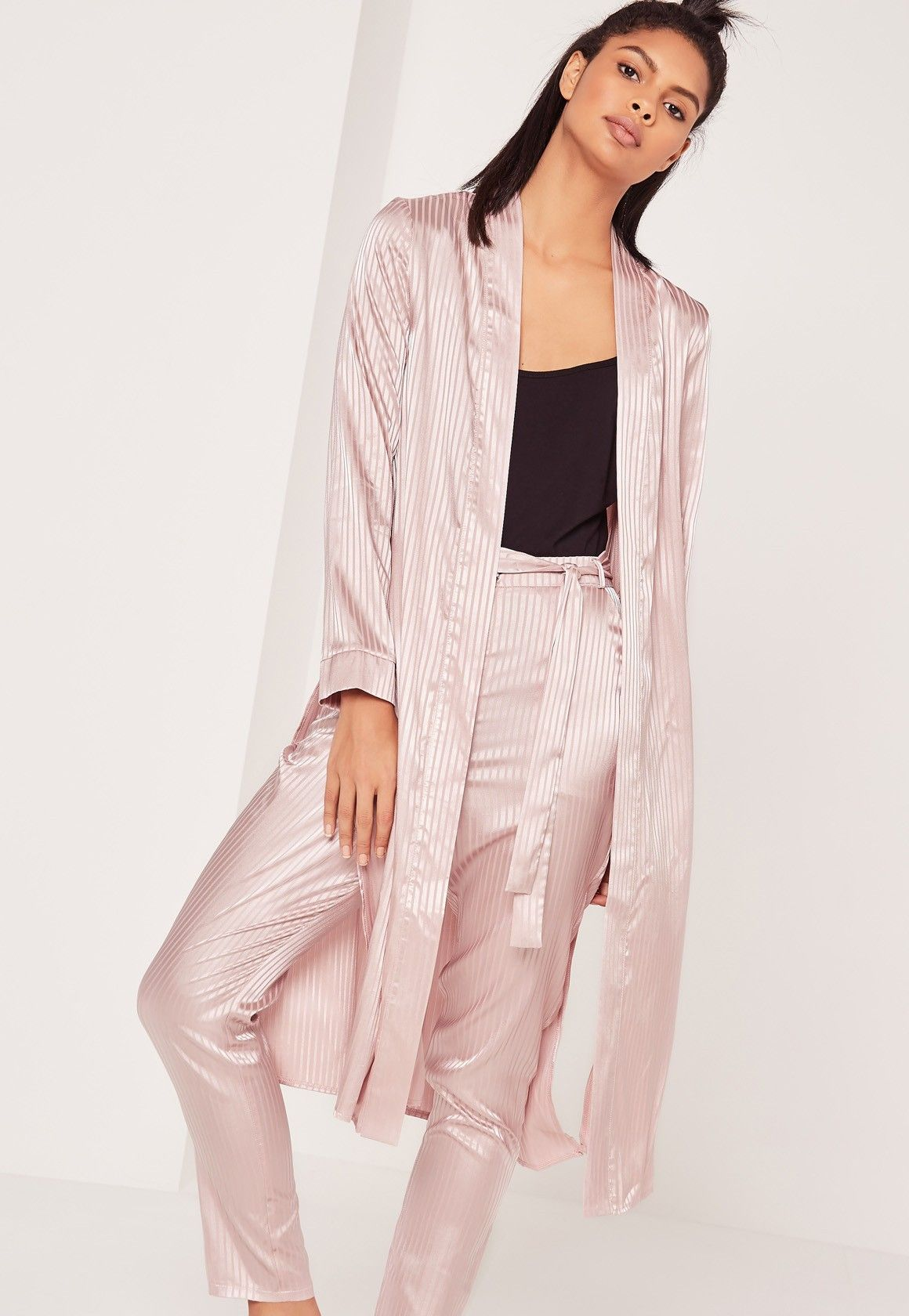 Missguided - Premium Silk Stripe Duster Jacket Pink | My Polyvore ...