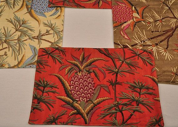 6 Eco Silk Cotton Placemats Red Yellow Green Pineapples Red Yellow Placemats Etsy
