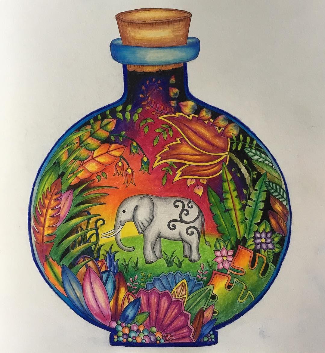 Coloring Color Colours Coloring Hobbie Elephant Bottle Magicaljungle Staedler Prisma Livro De Colorir Livro Para Colorir Adulto Arte Colorida Do Lapis