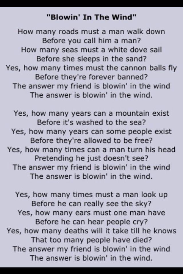 Blowin In The Wind Lyrics By Bob Dylan