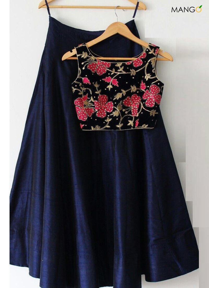 Silk saree below 2000 adorable navy blue tafeta silk aline lehenga choli  lehenga choli