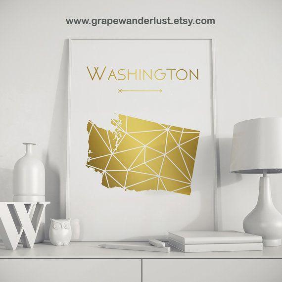 Washington state art Washington map Washington state print ...
