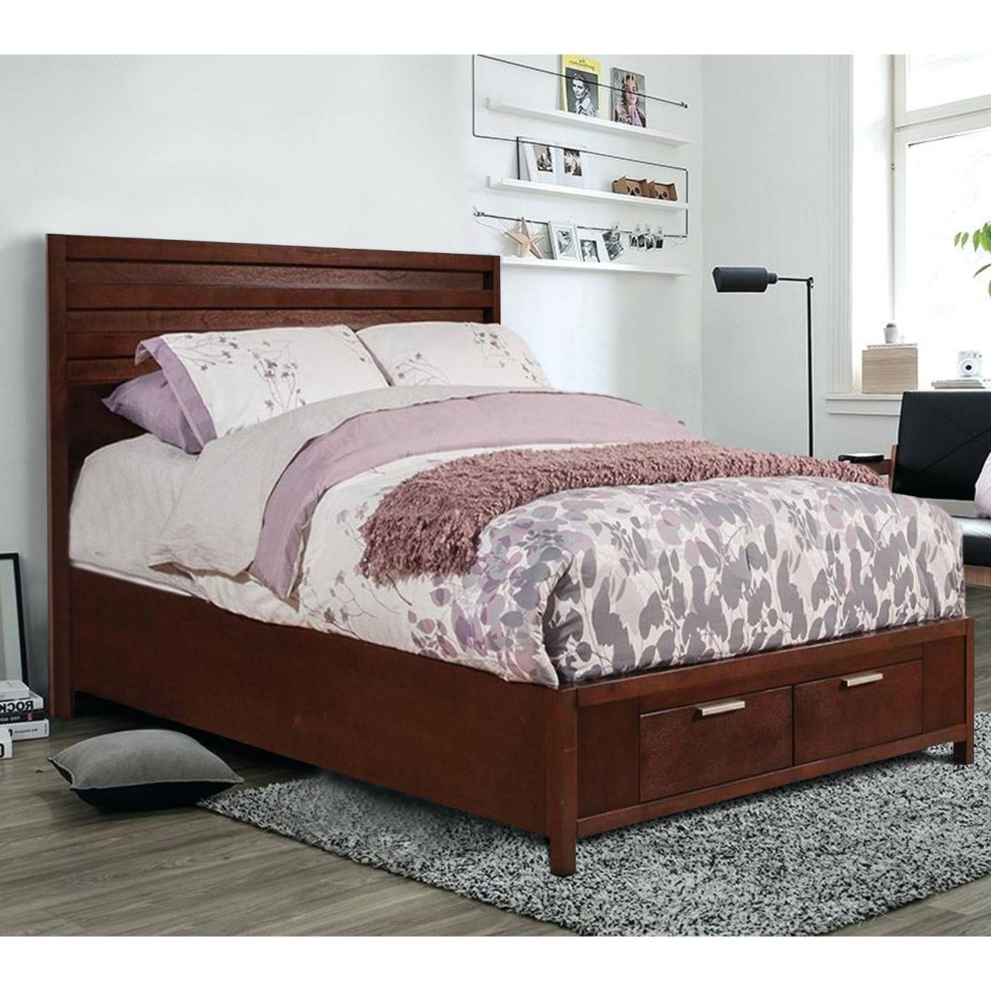 Mahogany Wood Full Size Bed With Storage Brown in 2019