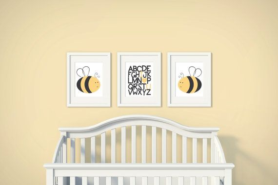 Boys or Girls Nursery Set | Bumble Bee | Alphabet Love | Set of 3 ...