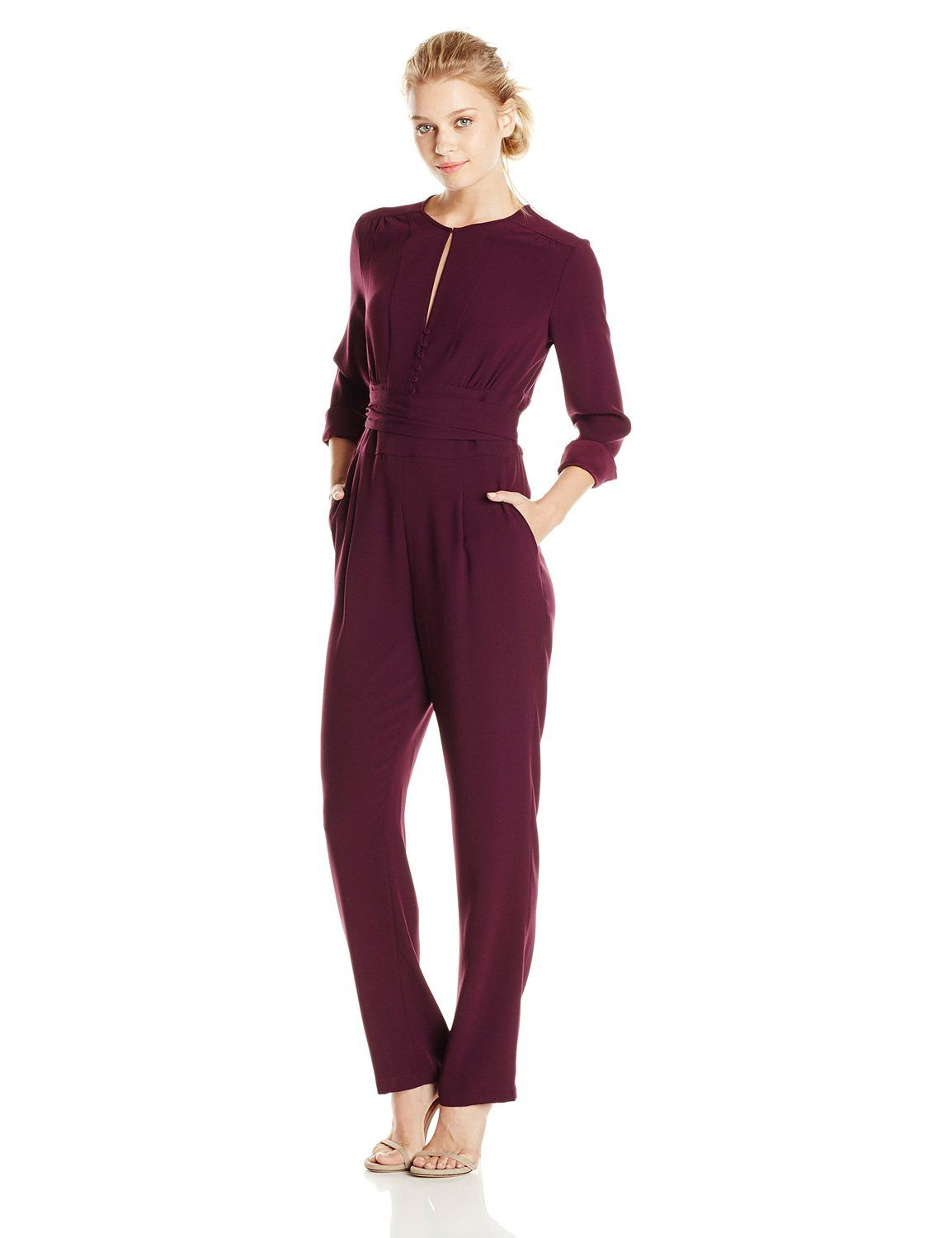 143acbf5abf7 Amazon.com  BCBGMAXAZRIA Women s Schyler Rouched Front Long Sleeve Jumpsuit