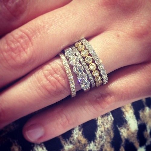 Stacked Rings Love The Different Bands Mix Of Gold White Gold