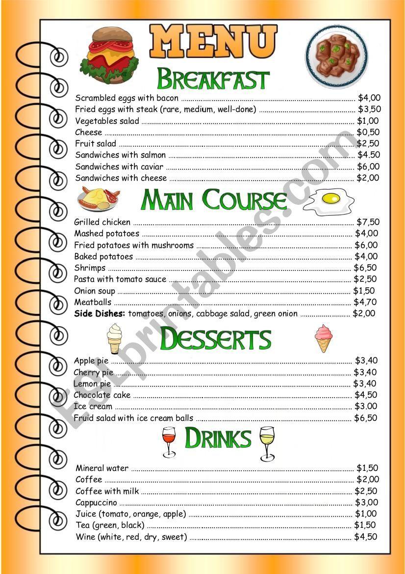 Restaurant Menu for speaking Clase de inglés