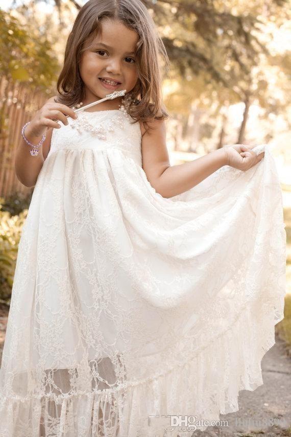 b3246c3d5d6 Full Lace Flower Girls Dresses For Weddings Halter Floor Length Modest Boho  Party Girls Pageant First Communion Dress For Kids Teens Big Girl Dresses  Black ...