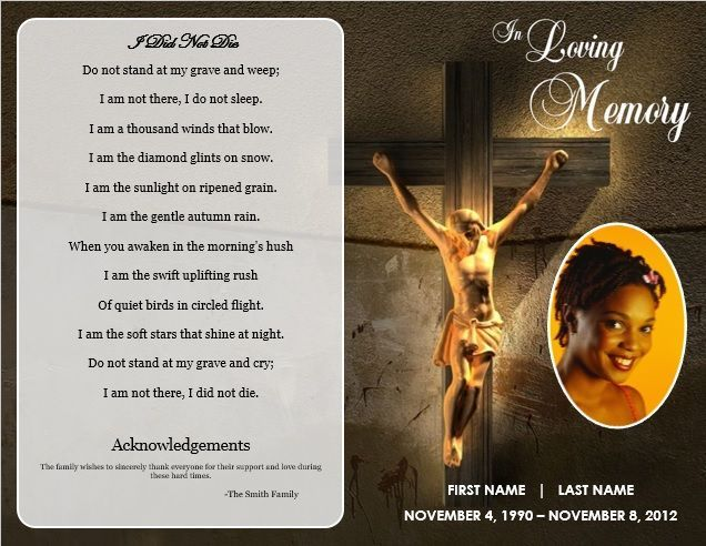 Free Funeral Program Templates Jesus Cross\u0027 BiFold Funeral Card