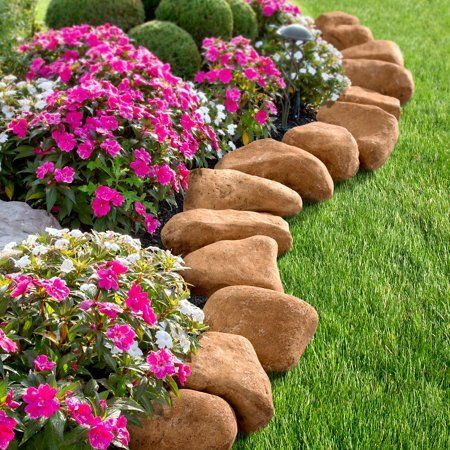 14 Pieces 10 Feet Long Border Realistc Stone Rock Look Stake Garden Path Outdoor Pathway Trail Flowerbed Walkway Edging Yard Dec Landscaping With Rocks Landscape Edging Concrete Landscape Edging