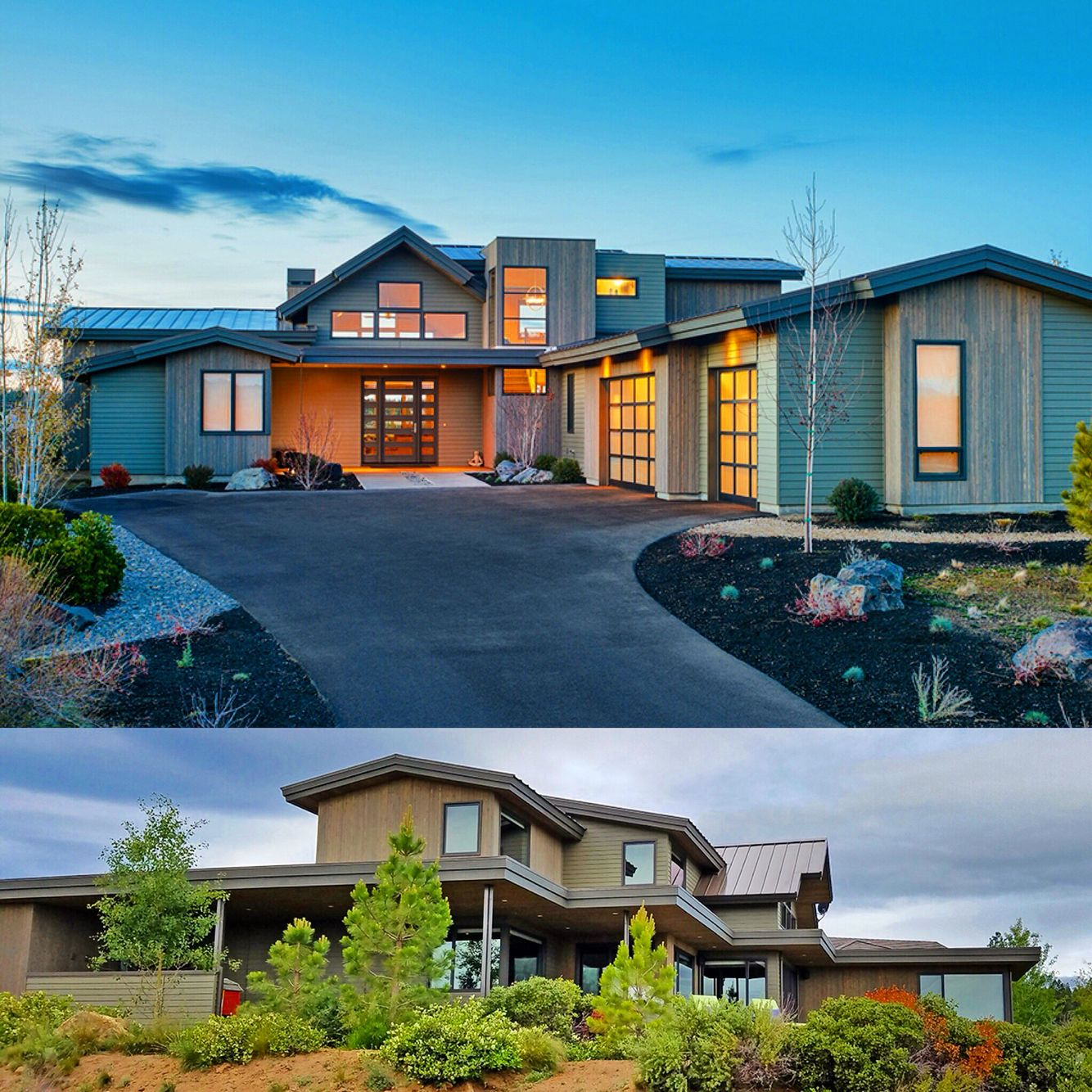 Modern Homes Front And Back: Front And Back Corner Views Of Architectural Designs
