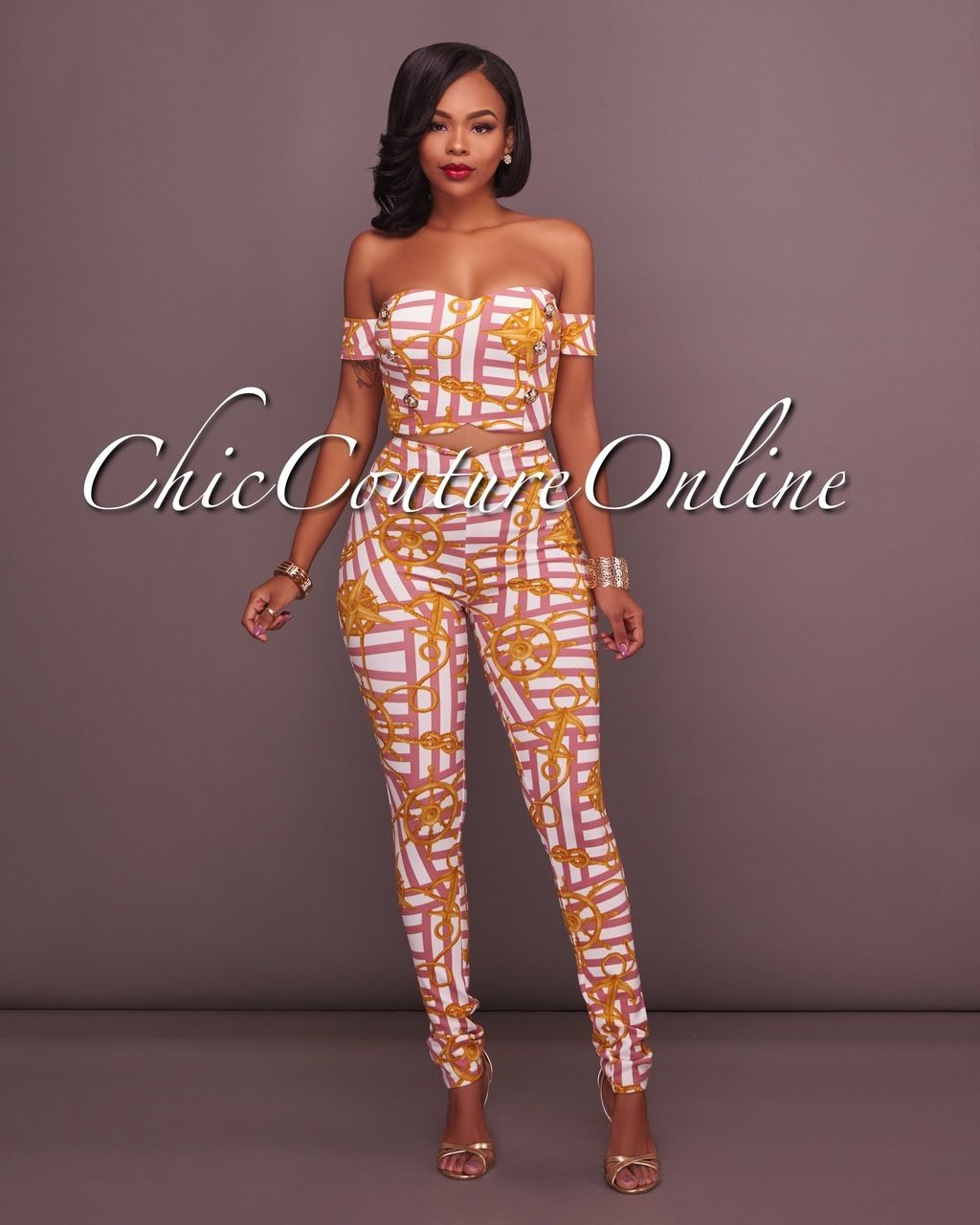 1000 Images About African Print 2 Piece Outfit On: Mindy Rose Chain Print Two Piece Set