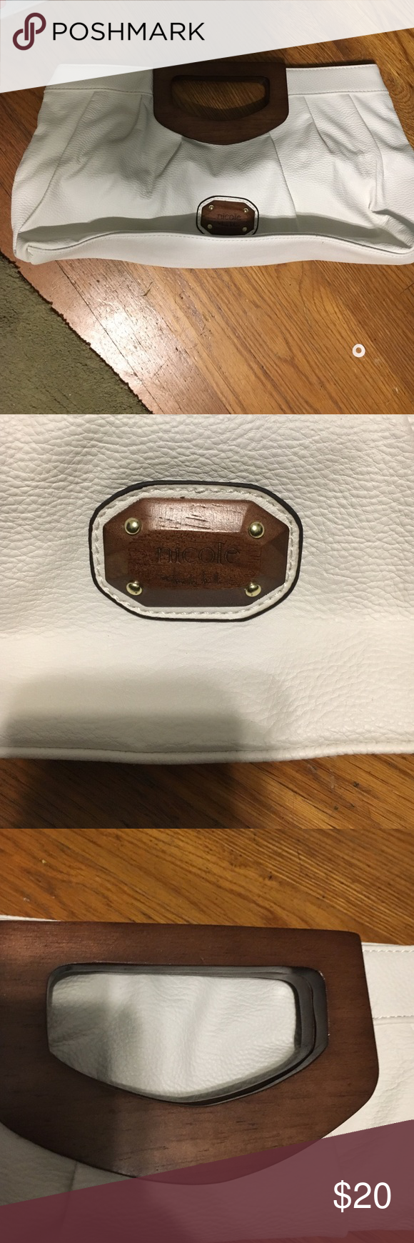 Nicole Miller white bag Used once super cute large inside with pockets Nicole by Nicole Miller Bags Clutches & Wristlets